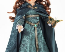 "Green Velvet Cloak with Hood and Satin lining fits 18"" Carpatina, American Girl or Our Generation Dolls"
