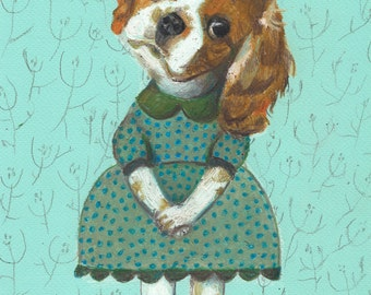 Princess of the dogs - Puppy - dogs drawing - ORIGINAL ILLUSTRATION / dog drawing  / Colored pencil drawings / lady dog art