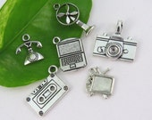 6 BACK in TIME Themed Charm Collection -Assorted Charms - Antique Silver - Us Seller - Fan, Phone, Tv, Camera, Cassette, PC