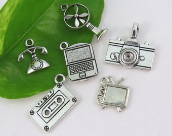 6 LEGACY TECH Themed Charm Collection -Assorted Charms - Antique Silver - Us Seller - Fan, Phone, Tv, Camera, Cassette, PC