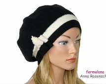 boiled wool hat beanie cap black and white ornament  flower