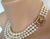 Pearl Choker, Topaz Bridal Necklace, Mother Of The Bride, Wedding Jewelry, Art Deco, Great Gatsby, Wedding Necklace, Smoky Topaz Rhinestone