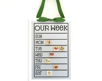 Weekly Chore Chart - 9 x 13 magnetic weekly schedule board