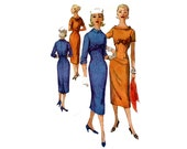 1950s Dress Pattern Slim Sheath Dress with Bolero Front Short or Three Quarter Sleeve Simplicity 1773 Junior Bust 33 Vintage Sewing Pattern