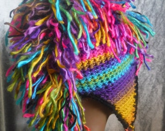 Technicolor Crochet Beanie with Ear-flaps & Mohawk and optional hand-warmers