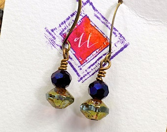 Everyday Earrings, Purple Green, Sparkle and Light, Dangle Earrings