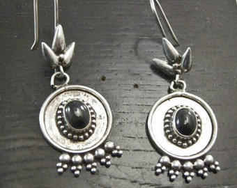 Sterling Silver and Black Hematite Earrings, Tribal Style Earrings, elegant Silver Earrings, Tribal Earrings, Silver and Black Earrings