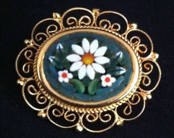 Vintage Micro Mosaic Jewelry,Mosaic Daisy Floral  Brooch Pin, Italy Sweater Pins, Italian Micro Mosaic Brooch Pins, **USA ONLY**