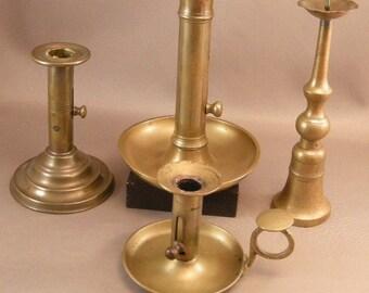Antique Brass Candlesticks, Lot of4 Candle Stick Holders,  Home Decor,Lightning, Brass Candlesticks, 19thc. Lighting, ***U S A ONLY**