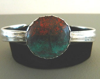 Sonora Sunset Cabochon and Vintage Sterling Silver Silverware Cuff Bracelet, CB3