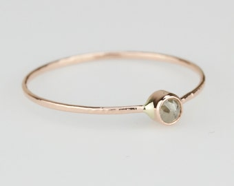 Delicate Rose Cut Gray Diamond Stack Ring - Solid 14k Gold - Genuine Rose Cut Grey Diamond - Rose or White or Yellow Gold - Tiny Dainty