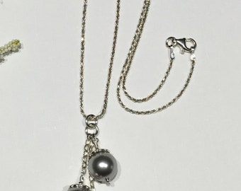 Necklace-Triple-Staggered Pearl Pendant-Grey-Gray-Swarovski Pearls-Sterling Silver Diamond Cut Chain-Classic Elegance-Wedding-Formal-For Her
