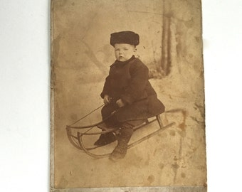 Boy On Sled Antique Cabinet Card St John's Newfoundland S H Parsons Photo