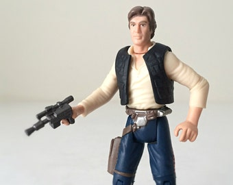 Star Wars Figure, Han Solo with Blaster and Holster, Vintage Kenner Star Wars Toy, Action Figure and Display Stand, Force Awakens, Kids Toy