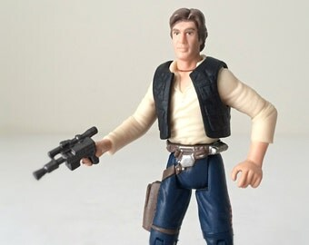 Star Wars Figure Han Solo with Blaster and Holster - 1990s Kenner Star Wars Toy - Super Posable Action Figure with Display Stand