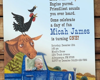 Little Blue Truck Invitation (with or without photo)