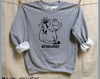 Herbivore the Marijuana smoking Dinosaur. Unisex Gray Slouchy Sweatshirt. Men Women clothing. Weed. Reefer. Pot. Joint. Legalize it. Trex