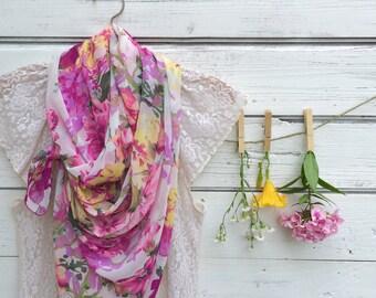 Floral Scarf, Sheer Scarf, Summer Scarf, Long Scarf, Lightweight Scarf, Wrap, Shawl, Pink Flowers Scarf, Gift for Her, Jannysgirl