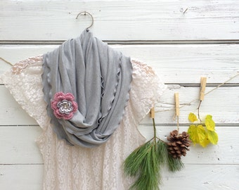 Grey Infinity Scarf , Scarf with Flower Pin, Light Grey Scarf with Flower Brooch, Circle Scarf, Jersey Scarf, Fall Scarf,Pink Crochet Flower