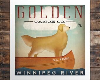 CUSTOM Golden Dog Canoe Company Golden Retriever Canoe Ride Graphic Art Giclee Print Signed