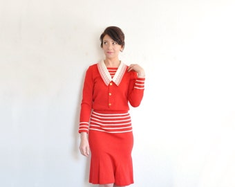 red nautical knit dress . Adolfo sailor girl frock . gold initial A buttons .extra small.small.xs .sale