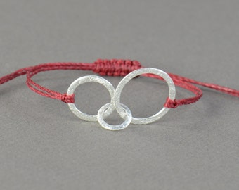 Triple Sterling Silver Karma bracelet . friendship .