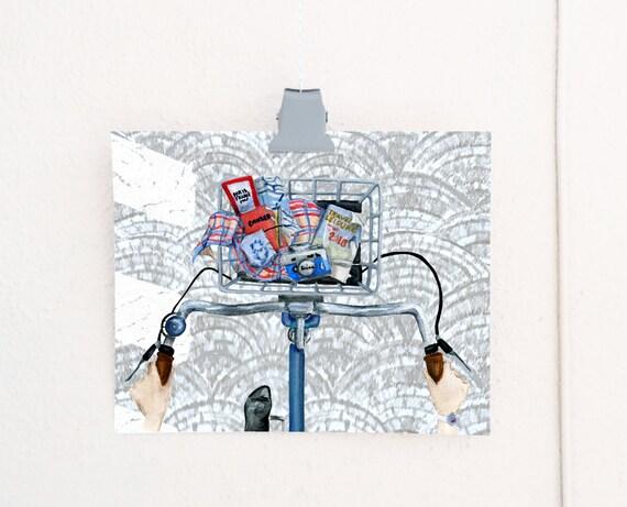 Bicycle Tour: Paris print of an original watercolor