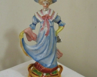 Vintage Made in Japan Lady in Blue Dress Figurine