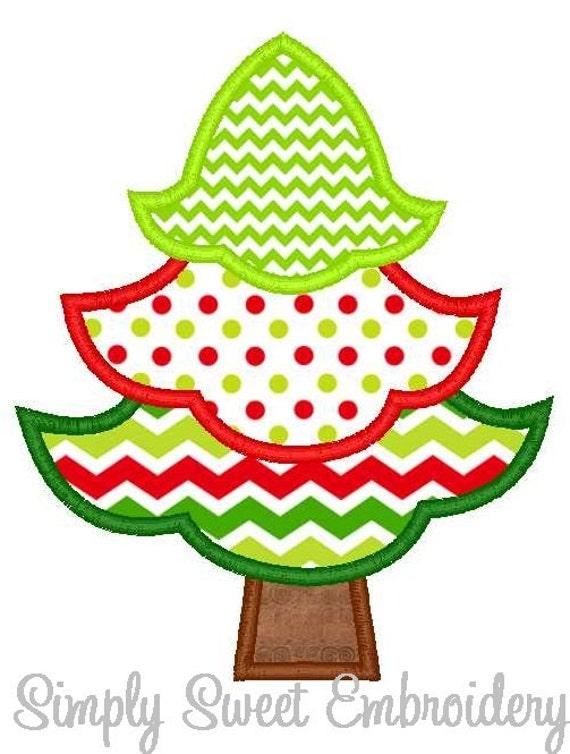 Christmas Tree 3 Machine Embroidery Applique Design