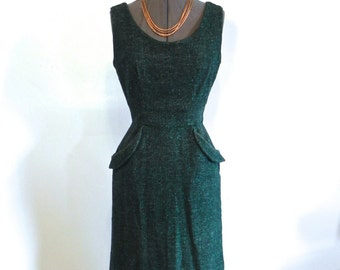 vintage 50s Dress Fab Black and Turquoise Fleck Wiggle Dress Sm - on sale