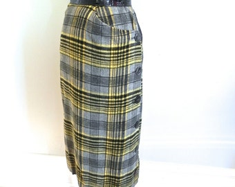 Vintage 1950s Wiggle Skirt - 50s Yellow Black Tartan Fuzzy Cashmere Wool Pencil Skirt with Side Buttons Sm
