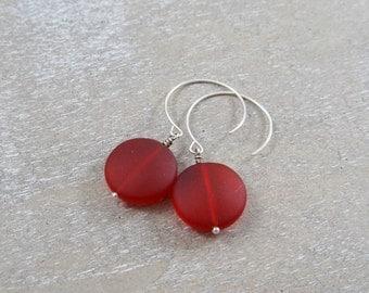 Deep Red Marsala Matte Frosted Glass Earrings