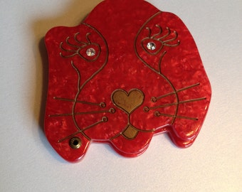 Red Dog Mirror Compact Adorable