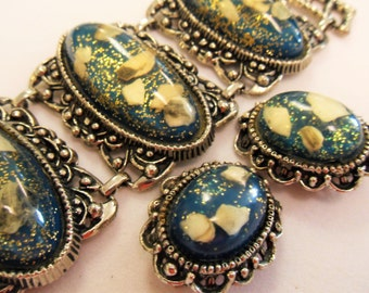 Large Chunky Vintage Confetti Bracelet and Earrings  Turquoise
