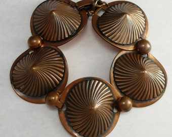 Mid Century Copper Bracelet Swirled Cones Modern Design Vintage