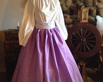 Civil War Pioneer Colonial Lavender and White Print Skirt Blouse and Sash