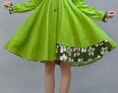 button down dress, shirt dress, green dress, linen dress, Light green dress, long sleeve dress,patchwork dress, linen clothing, Custom  (19)