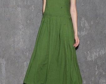 green dress, linen dress, maxi dress, evening dress, fit and flare dress, women dresses, sleeveless dress, summer dress, gift (1317)