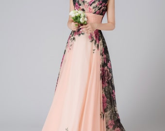 Maxi chiffon flower dress wedding dress women dress 1543