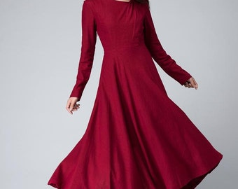 Red dress, maxi dress, prom dress, long sleeves dress, fall dress, pleated dress, fitted dress, midi dress, linen dress, gift ideas 1494
