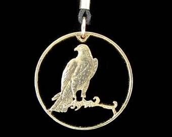 Cut Coin Jewelry - Pendant - Isle of Man - Gyrfalcon