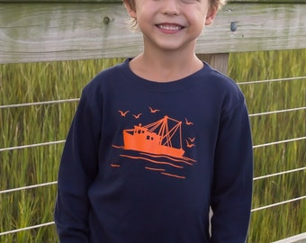 Shrimp Boat Long Sleeved Crew by Nostalgic Graphic Tees in Navy with Orange