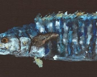 Midnight Wahoo - Gyotaku Fish Rubbing - Limited Edition Print (37.5 x 10.5)