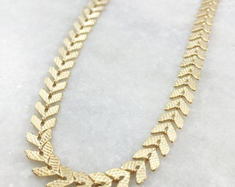 Gold Chevron Chain Necklace | Gold Plated | N31630