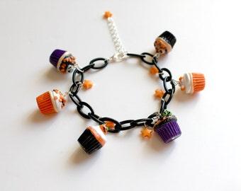 Spooky Halloween Cupcake Charm Bracelet