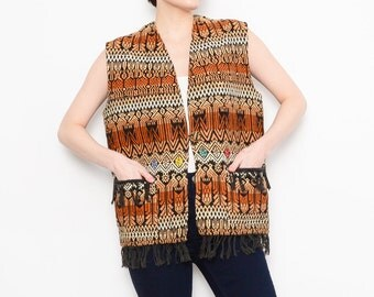 70s Ethnic Tapestry Vest Native Birds 1970s Boho Hippie Guatemalan Fringe Vest Medium M