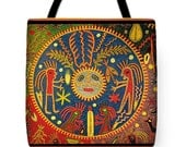 Southwest Shaman Peyote Dream Del Sol Printed PolyPoplin Tote Bag - Printed Huichol Throw Pillow - Tribal Decor - ReUsable Bag - Laptop Bag