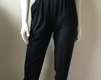 Vintage Women's 80's Black, Stirrup Pants, High Waisted by Counterparts Petites (S)