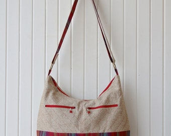 Zippered Hobo Bag in Flax Linen with Red Faux Leather