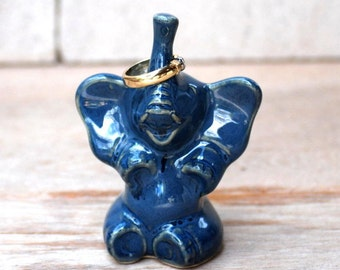 elephant ring holder in stormy blue lucky elephant ring holder dish - SAME day shipping